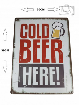 TABLICA BLACHA COLD BEER XXL 30X39 CM NEW 2019!
